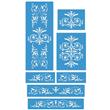 "Renaissance Furniture Set Stencil Small 7 Stencils 6.5""x8"", 12""x2.5"""